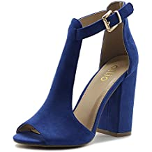 Ollio Women's Shoes T-Strap Chunky High Heel Bootie Sandals