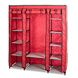 KARMAS PRODUCT 5-Tier Portable Wardrobe Clothes Closet with Non-woven Fabric and Steel Tube, Free Standing and Space Saving Closet Storage, Quick and Easy Assembly (red)