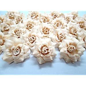 "(100) Silk Cream Roses Flower Head - 1.75"" - Artificial Flowers Heads Fabric Floral Supplies Wholesale Lot for Wedding Flowers Accessories Make Bridal Hair Clips Headbands Dress 24"