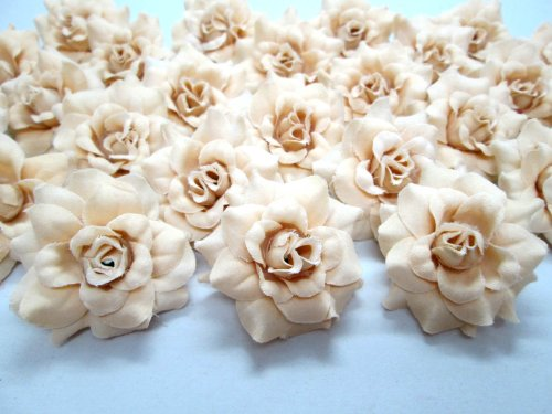 (100) Silk Cream Roses Flower Head - 1.75 - Artificial Flowers Heads Fabric Floral Supplies Wholesale Lot for Wedding Flowers Accessories Make Bridal Hair Clips Headbands Dress