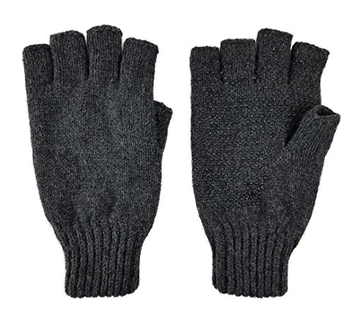Bruceriver Men's Wool knitted with Thinsulate lining Fingerless Ragg Gloves (Anthra)