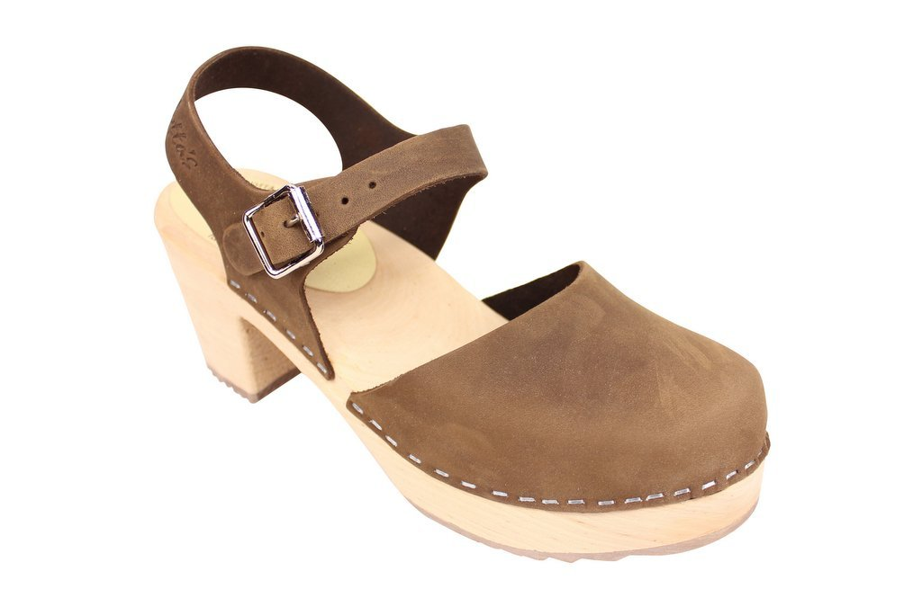 Lotta From Stockholm Torpatoffeln Swedish Clogs : Highwood Mary Jane Style in Brown Nubuck Leather 8.5 B(M) US/39 M EU