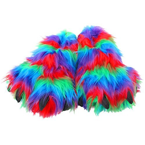 Wishpets Stuffed Animal Slippers - Soft Plush Toy Slim Slippers for Kids and Adults, Troll Feet