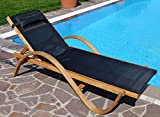 Sunbed lounger deckchair PARAISO wooden larch with pillow