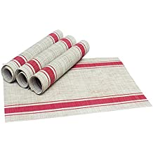 Vinyl Placemats - Set of 4 - Dining Table Mats for Home Kitchen,Dinner Room,Outdoor Picnics Parties,Restaurant - Reversible Woven & French Stripe Pattern - 18 by 12-Inches,Tan and Red,Honla