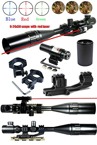 Ledsniper®2 in 1 useful 6-24x50 Tactical Rifle Scope R/g Mil-dot w/ Pepr Mount + Sunshade + Laser Sight