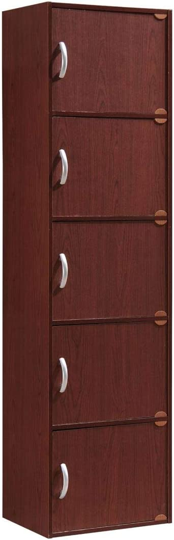 HODEDAH IMPORT 5-Shelf Bookcase Cabinet, Mahogany