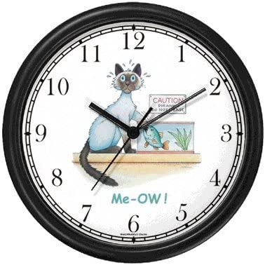 Siamese Cat and Piranha – Cat Cartoon or Comic – JP Animal Wall Clock by WatchBuddy Timepieces White Frame