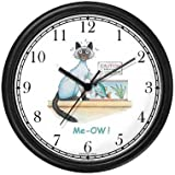Siamese Cat and Piranha - Cat Cartoon or Comic - JP Animal Wall Clock by WatchBuddy Timepieces (White Frame)