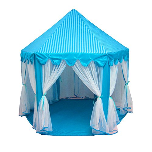 runytek-blue-princess-children-castle-play-tent-indoor-and-outdoor-foldable-portable-play-house-for-