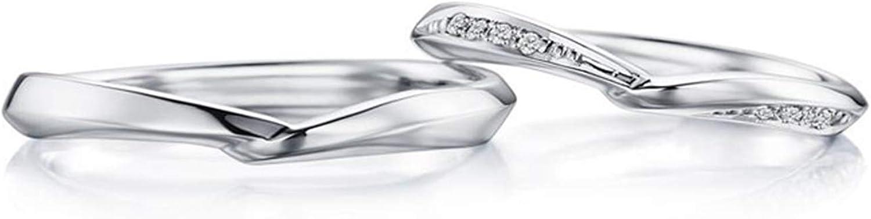 Epinki Anillo Oro Blanco 18k Clásico Retorcido Diamante 0.05ct Anillo de Compromiso Aniversario Promesa Banda Boda
