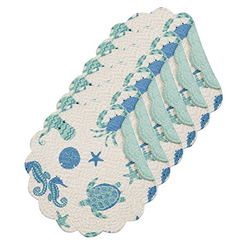 C&F Home Brisbane Coastal Turtle Seahorse Octopus Starfish Sea Shell Cotton Quilted Round Cotton Reversible Placemat Set of 6 Round Placemat Set of 6 Aqua