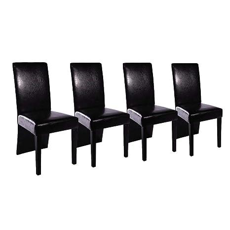vidaXL 4X Sillas de Salón Comedor Elegantes Modernas de Cuero Artificial Negro
