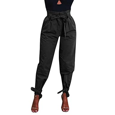 a5b03840dee9 JESFFER Womens High Waist Pants Belted Trousers Ladies Party Casual Pants  Black