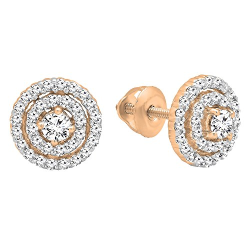 0.41 Carat (cttw) Round White Diamond Ladies Halo Style Stud Earrings, 14K Rose Gold ()