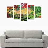 Children's room custom mural Water Nature Trees Autumn Multicolor Flowers canvas print bedroom or living room features oil painting 5 pieces, ready for framing (No Frame).