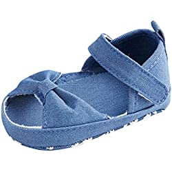 Infant Sandals, Emubody Baby Infant Kids Girl Soft Sole Crib Toddler Newborn Sandals for 0~18 Months Babies (12~18Months, Light Blue)