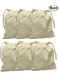 """Earthwise Organic Cotton Muslin Produce Bags with Drawstring for Grocery Shopping and Storing , Bulk Foods, Nuts, Grains, Spices Storage & Organizing 11.5"""" x 13.5"""" ( Set of 6 )"""