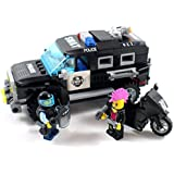 Police SWAT Vehicle and Black Motorcycle - Building Block Toy
