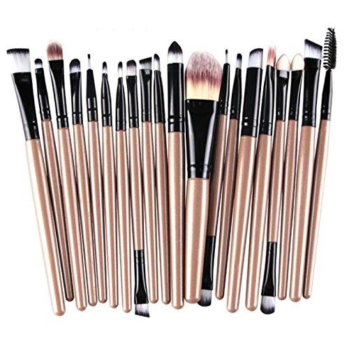 20 Pcs Makeup Brush Foundation Powder Concealers Eye Shadows Kit Wool Toiletry Sets (Gold)