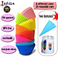 Lasten Silicone Cupcake Liners with Pastry Bag and Storage Tank as Bonuses , Reusable & Non-stick Baking Cups , standard Muffin Cups Chocolate Holders Truffle Cups (24 pcs /8 colors)