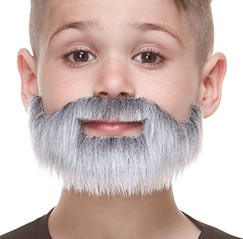 Mustaches Fake Beard, Self Adhesive, Novelty, Small, Short Boxed False Facial Hair, Costume Accessory for Kids, Gray with White Color -