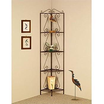Coaster Home Furnishings Traditional 4 Tier Metal Corner Shelf Bookcase -  Copper