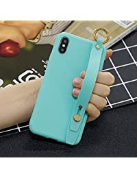 Amocase Soft Silicone Case with 2 in 1 Stylus for Samsung Galaxy A20E,Cute Sweet Candy Color Wrist Strap Stand Shockproof Anti-Scratch Flexible Case - Light Blue