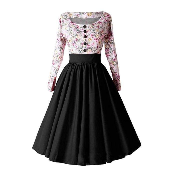 OverDose mujer De Manga Larga FloralPrint Hepburn Vintage BotóN Lindo De Cintura Alta Plisada Plisada Vestido