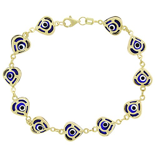 14k Yellow Gold Womens 9mm Clear Dark Blue Evil Eye Heart Good Luck Charm Bracelet Chain 7.5'' by In Style Designz