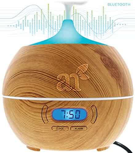 Art Naturals Essential Oil Diffuser 400ml With Bluetooth Speaker, Clock & Alarm - Electric Cool Mist Aromatherapy Humidifier for Office Home Bedroom Baby Room Study Yoga Spa - 7 Color LED Lights