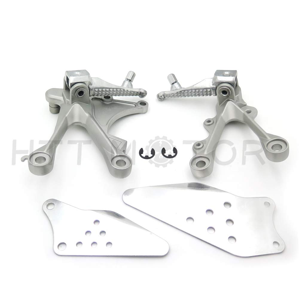 HTTMT MT390-006 Black Front Rider Foot Pegs Bracket Fit Compatible with Kawasaki Zx6R 2005 2006 2007 2008