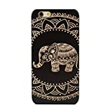LINFA BLACK iPhone 5SSE 6 6S 7 7P Cover Wooden Cases (iPhone 6/6S, black elephant)
