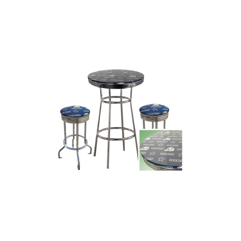 Dallas Cowboys NFL Football Glass Top Chrome Bar Pub Table Set With 2 Swivel Bar Stools   Home Bars