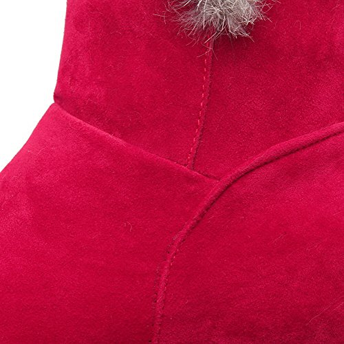 AllhqFashion Mujeres Sin cordones Puntera Redonda Tacón Medio Gamuza(Imitado) Caña Baja Botas Rojo