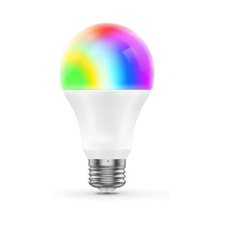 Foco WiFi E27 funciona con Alexa, Google Home y IFTTT RC LED Smart Sunrise luces de despertar RGB ahorro de energía foco 6,5 W (equivalente a 60 W)