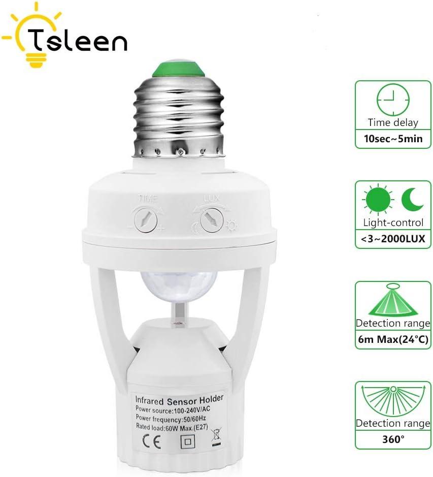 2 Pack Maxxima E26 Light Bulb Socket Motion Sensor Adapter 12ft 360 Degree Detection PIR Occupancy Sensor