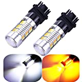 3157 3057 3357 4157 Turn Signal White/Yellow Switchback LED Light Bulbs 22 SMD with Projector, for Standard Socket, Not CK- Pair of 2