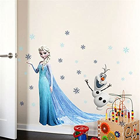 Disney® Frozen -wallpaper murals-Disney Frozen Collection Wall Graphics- Disney Frozen Elsa Peel and Stick Giant Wall Decals-wall decals are life-size action images that you stick on any smooth surface- high-grade vinyl that's tear and fade resistant-reusable Your little one will love it- (Olaf Wall Mural)