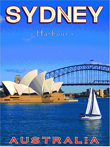 (A SLICE IN TIME Sydney Harbour Opera House Australian Australia Travel Advertisement Art Collectible Wall Decor Poster Print. Measures 10 x 13.5 inches)