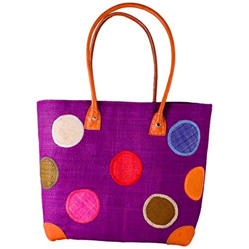 Madaraff Handmade Raffia Shopping Bag Polka Dot Purple Small