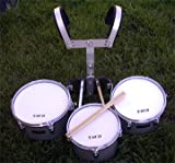NEW SILVER COLOR MARCHING TRI-TOM DRUM 11''x 12''x 13''