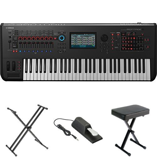 Yamaha Montage6 Synthesizer Workstation, with Stand, Pedal, and Bench