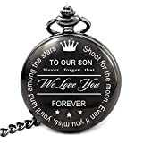 LEVONTA Son Gifts from Mom and Dad, Personalized Pocket Watch for Son Gifts for Birthday Baptism Christmas Valentines Day Graduation (To Our Son)
