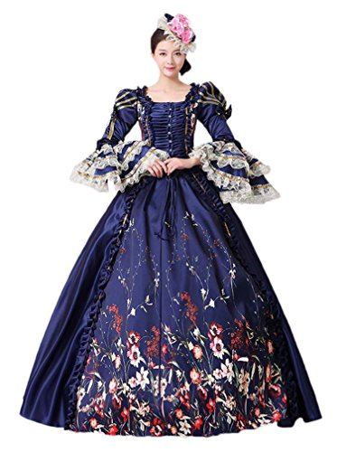 Zukzi Women's Gothic Victorian Lolita Masquerade Dresses Ball Gowns, 7 Navy, US 18 -