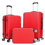 Luggage Set - 3 Piece Spinner Hardshell Luggage Sets Lightweight Suitcase Set with TSA Lock - Red