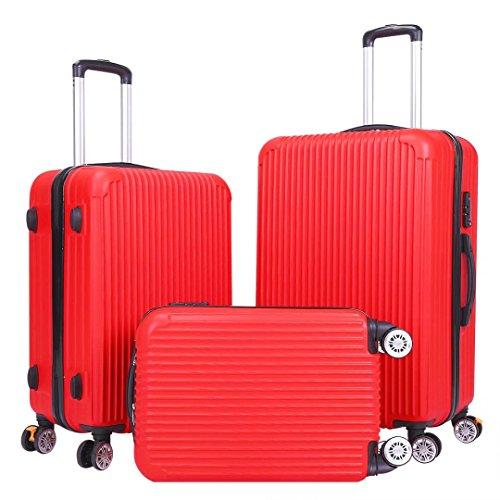 Luggage Set - 3 Piece Spinner Hardshell Luggage Sets Lightweight Suitcase Set with TSA Lock - Red by Setory