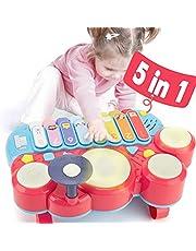 CubicFun 5 in 1 Baby Muziekinstrumenten Peuter Speelgoed voor 1 Jaar Oude Meisjes, Multifunctionele Piano Drum Set Vroege Ontwikkeling & Activiteit Speelgoed Baby Speelgoed voor 12 Maanden 2 3 4 5 6 Jaar Oude Meisjes Jongens Geschenken