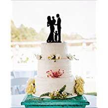 Wedding Cake Toppers Family Bride and Groom with 2 Boys Anniversary Wedding Cake Toppers Vintage