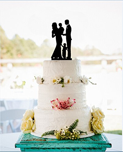 Amazon.com: Wedding Cake Toppers Family Bride and Groom with 2 Boys ...